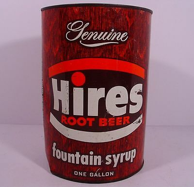 HIRES ROOT BEER One Gallon FOUNTAIN SYRUP Flat Top Pop Can ~ EVANSTON, ILLINOIS