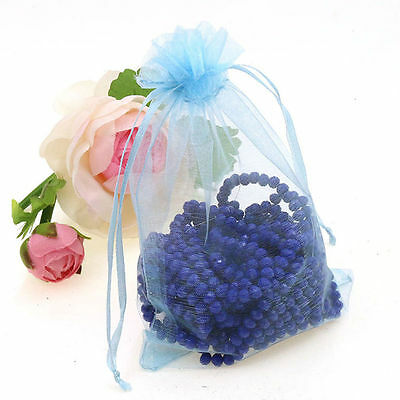 25Pcs Organza Wedding Party Favor Gift Candy Bag Packing 7X9cm(Sky Blue)