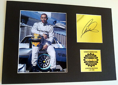 Lewis Hamilton Formula 1 mounted quality signed  print 12 x  8 in limited edtion