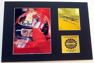 Michael Schumacher F1 mounted signed pre print 12 x 8 in Gold limited edition