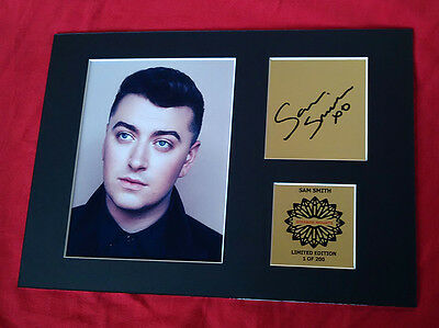 SAM SMITH mounted quality signed print 12 x  8 in gold limited edition