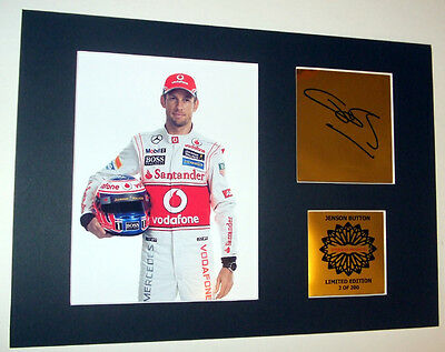 Jenson Button signed print Formula 1 mounted quality signed print 12 x 8 in