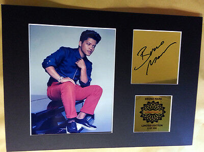 Bruno Mars signed mounted quality pre print 12 x  8 in gold limited edition bn*