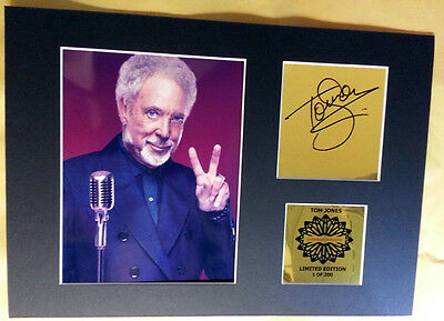 Tom Jones signed mounted quality pre print 12 x  8 in gold limited edition **