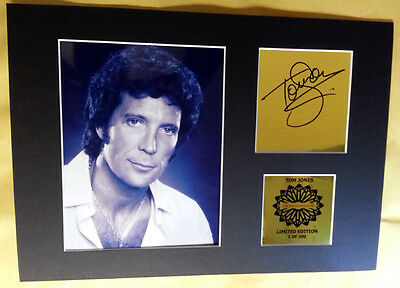 Tom Jones signed mounted quality pre print 12 x  8 in gold limited edition *