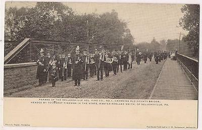 2-sided view SELLERSVILLE PA Volunteer Fire Co #1 Band Youngest Fireman Postcard