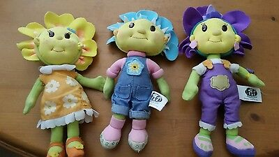 3x FIFI AND THE FLOWER TOTS -  TALKING fifi Violet PLUSH SOFT TOY DOLL W/ SOUNDS