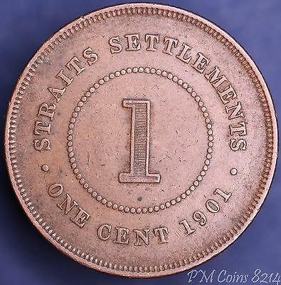 1901 Victoria Straits Settlements One Cent COIN [8214]
