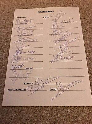 PSV Eindhoven 1995 - 18 Autographs to A4 Team Sheet inc Zenden Wouters Advocaat
