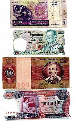 LOT 4 Billets DIFFERENTS PAYS BRESIL THAILANDE MADAGASCAR CAMBODGE