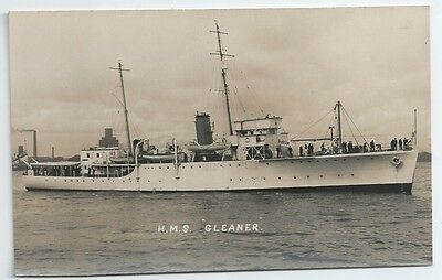 HMS GLEANER Halcyon class Survey Ship / Minesweeper Royal Navy Unused RP PC