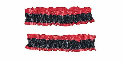 Red And Black Silken Garter Or Armband Adult Costume Set One Size