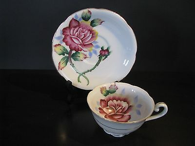 Vintage Cup & Saucer Bone China Japan Hand Painted Red Rose