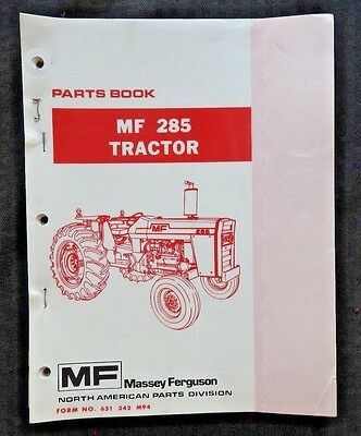 Genuine 1974-82 Massey Ferguson Mf285 Mf 285 Tractor Parts Catalog Manual Nice 1