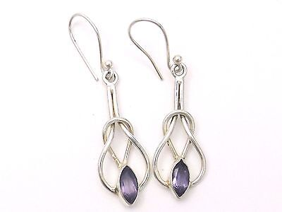 Sterling Silver Drop Earrings   Pretty Celtic Knot design with Amethyst stones