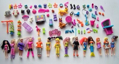 Job Lot Polly Pocket. Figures. Car. Misc Pieces.kennels. Pool. Nice Bundle.