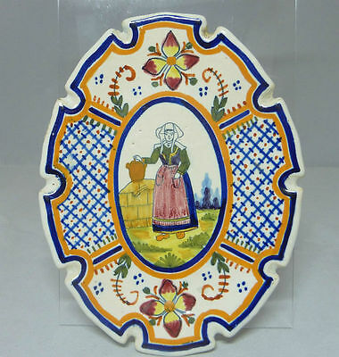 Vintage Quimper Pottery Dish - French Faience - Breton Traditional Dress