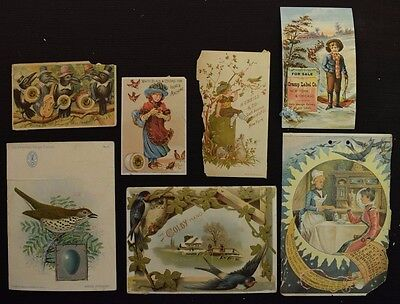 Lot of 7 Miscellaneous Damaged Victorian Trade Card with Birds See Photo