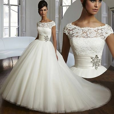 2016 New Lace And Tulle White/Ivory Wedding Dress Bridal Gown Stock Size US4-16W