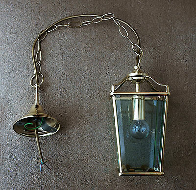 Pendant Style Brass Effect And Glass Ceiling Light