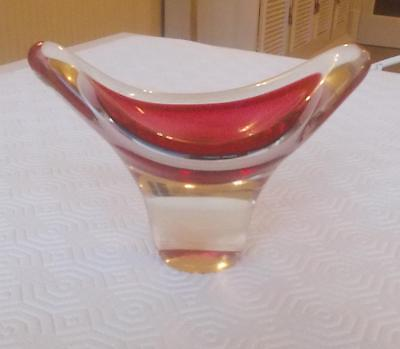 Vintage Flygsfors Sweden Glass Red White Coquille Bowl Paul Kedelv
