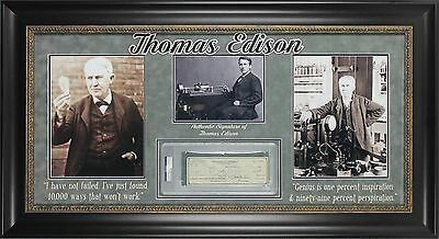 Thomas Edison Signed & Framed 3x8.5 1923 Edison Research Corp Check PSA Slabbed