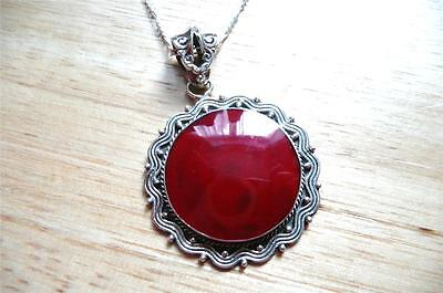 Large Red Coral 925 Sterling Silver Pendant Chain Necklace 18Ins