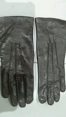 vintage brown leather gloves size 7 acrylic lining