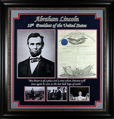 Abraham Lincoln Signed & Framed 13.5x17.5 1862 Civil War Commission Document PSA
