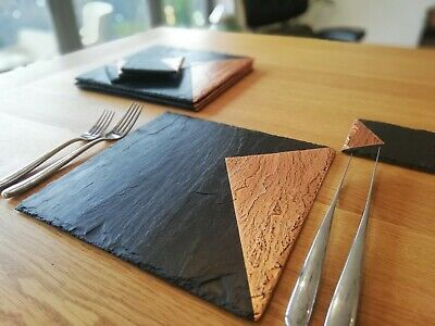 Slate & copper placemats, coasters, handmade UK, copper, silver, gold, geometric