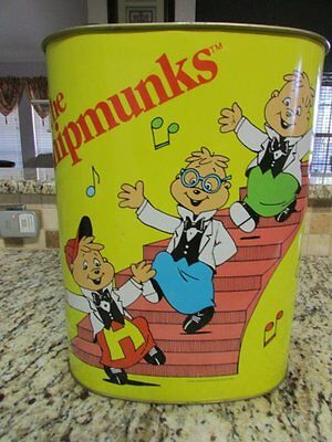 Vintage Rare Old Nice The Chipmunks Collectible Cheinco Metal Trash Can