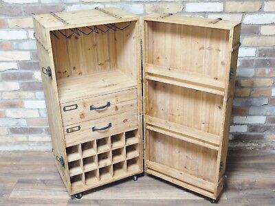 large retro industrial drinks chest bar, large retro industrial wine cabinet bar