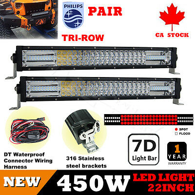 22Inch 2x450W PHILIP LED Light Bar Combo Beam Offroad Daytime Running Light Driv
