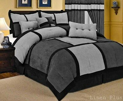 Gray Black Micro Suede Comforter Set Queen Size New 7 Piece Patchwork