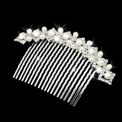 Bridal Wedding Jewlry Crystal Diamante Pearl Hair Clip Comb Slide Headpiece