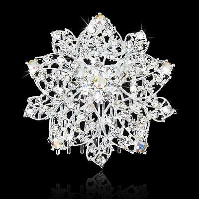 Bridal Wedding Prom Crystal Diamante Bouquet Hair Comb Clip Slide Fascinator