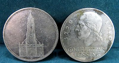 Lot Of German Silver Coins 1934 5 Reichsmark & 1929 Lessing