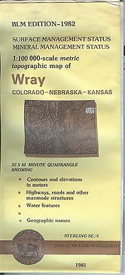 USGS BLM edition topographic map WRAY mineral 1982 STERLING SE/4 CO NE KS
