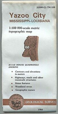 US Geological Survey topographic map metric YAZOO CITY Mississippi Louisiana 84
