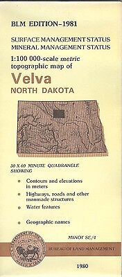 USGS BLM edition topographic map VELVA North Dakota mineral 1981 MINOT/SE4