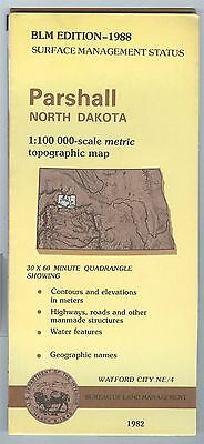 USGS BLM edition topographic map North Dakota PARSHALL 1988 - Watford City NE/4