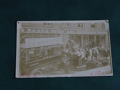 Original Real Photo Postcard, Moore Motor & Carriage Works, Belbroughton, Crash?