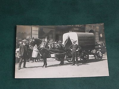 Original Real Photo Postcard - Horse & Cart - Birtley District Co-Op Society.