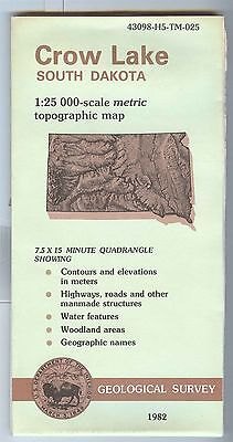 US Geological Survey topographic map metric CROW LAKE South Dakota  1982