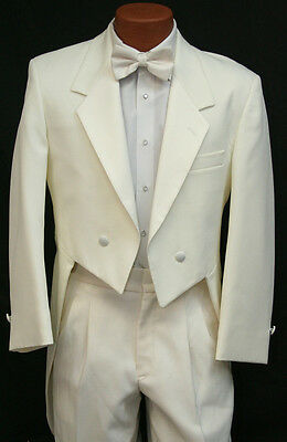 Ivory Off White Tuxedo Tailcoat Jacket w/ Pant Set Cream Wedding Grooms Tux