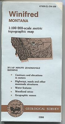 US Geological Survey topographic map METRIC 1984 Montanta WINIFRED
