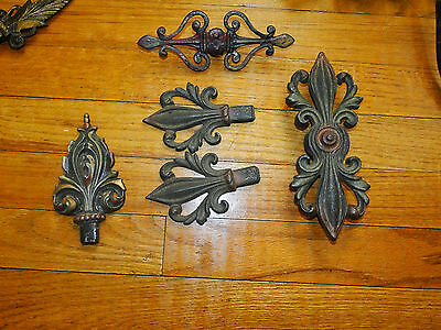 Antique Vintage Art Nouveau Deco Swing Arm Curtain Rod Toppers & Ends Victorian