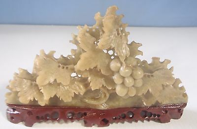 Antique fine hand carved soapstone grape vine with stand circa early 1900s 8 u
