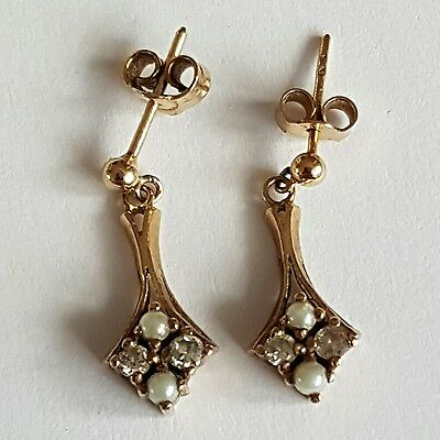EDWARDIAN 9 ct GOLD DIAMOND AND SEED PEARL DROP EARRINGS