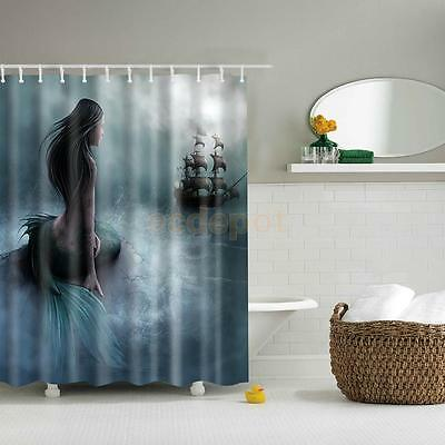 Shower Curtain Bathroom Waterproof Polyester Fabric Drapes Sea Boat Mermaid